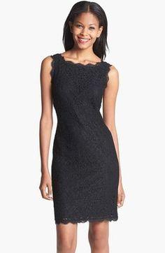 Adrianna Papell Boatneck Lace Sheath Dress (Regular & Petite)  http://www.shopstyle.co.uk/action/apiVisitRetailer?id=356647823&pid=uid3769-24827637-34  Saturday Shopping: Μαύρα μίνι φορέματα | stylenotes.gr