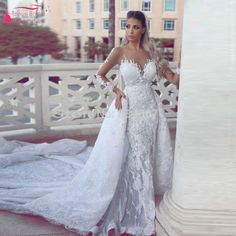 Find More Wedding Dresses Information about Lace Mermaid Long Sleeve Wedding Dress With Detachable Amazing Sweep Train Bridal gowns Vestidos De Noiva elegant African  Z759,High Quality dresses parties,China dress slip Suppliers, Cheap dress theatre from Tanya Bridal Store on Aliexpress.com
