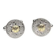 Two Tone Cleltic Warrior cufflinks cast in Sterling Silver with gold bead set in the centre. An intricate design inspired by the Ardagh Chalice. Claddagh Jewellers: The Celtic Jewellery Specialist. Celtic Warriors, Claddagh, Beautiful Gift Boxes, Gold Beads, Luxury Jewelry, Fathers Day Gifts, 18k Gold, Silver Jewelry, Cufflinks