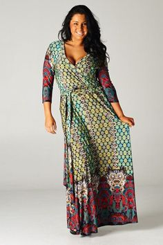 Boho Chic Quatrefoil Multi Color Wrap Maxi Dress - Regular and Plus Size, Best Selling Get ready for all the compliments you will receive when you wear this dress 3/4 sleeve