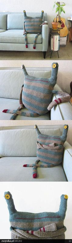 funny pillow - - > possibly save child's favorite blanket/shirt and make it into a monster doll after it gets worn out?