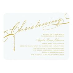 Scripted Christening Modern Cross Gold Baby Photo Invitations #baby