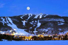Full moon over the village of Mont Tremblant, QC #Tremblant