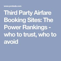 Third Party Airfare