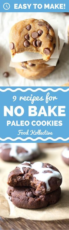 I was looking for no bake paleo cookies and these look incredible! There are recipes for Paleo chocolate chip cookies, Paleo samoa cookies, Paleo white chocolate macadamia nut cookies, and more. No baking required! I can't wait to make these for a Paleo d paleo dessert birthday
