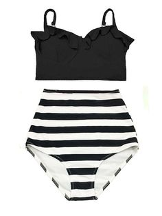 Black Midkini Top and Striped High Waisted Waist Cut Rise High-Waist High-rise Shorts Bottom Swimsuit Swimwear Bikini set Bathing suit S M L