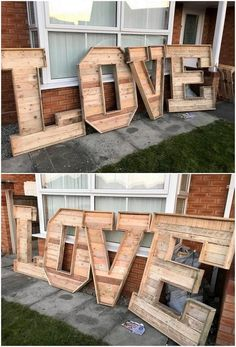 This love sign project is crafted amazing with the wood pallet and is overall in the interesting and much artistic style of formation. You would even come through the use of the garden decoration as in the manageable way. Pallet Furniture Shelves, Pallet Furniture Designs, Pallet Patio Furniture, Woodworking Furniture, Pallet Designs, Woodworking Tips, Wooden Furniture, Furniture Plans, Furniture Decor