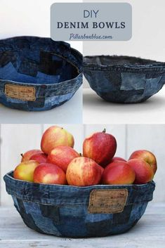 How to make fabric bowls out of denim scraps without sewing. They make unique fruit bowls and bread baskets for the table. Diy Furniture Projects, Diy Craft Projects, Craft Tutorials, Upcycling Projects, Craft Ideas, Denim Patchwork, Denim Fabric, Pocket Craft, Denim Scraps