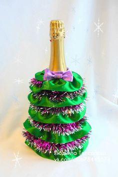 Оформление шампанского на новый год