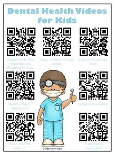 Free printable with QR codes to 7 dental health videos for kids.  Perfect for centers or early finishers during your dental health unit!