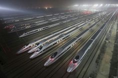 A high speed train depot in China
