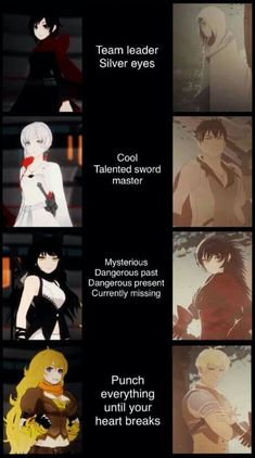 Comparing Team RWBY with their predecessors, Team STRQ. The resemblance is striking.