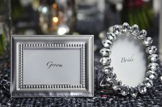 Ornate mini photo-frame place-cards from www.pinkfrosting.com.au. WED on Beaufort for the sparkly grey sequin tablecloth