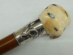 Antique Walking Stick Cane Shibayama Fruit & Insect Handle Silver Dragon Collar