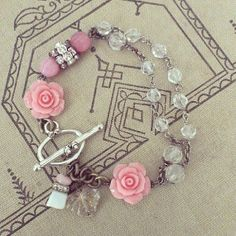 Pink Rose Bracelet  Vintage Restyled Jewelry by violetsarebleu, $42.00