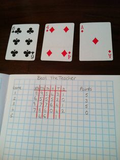 Same as trash can numbers with dice. This time use cards (no picture cards). The teacher flips over a card. The students choose which column to put the number into. If they have a larger number than the teacher they get 5 points, same is 3 points, lower is 0.