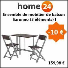 #missbonreduction; 10€ de réduction sur l'Ensemble de mobilier de balcon Saronno (3 éléments) I.http://www.miss-bon-reduction.fr//details-bon-reduction-Home24-i854755-c1836758.html