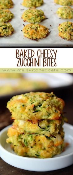These cheesy zucchini bites are a healthier zucchini fritter without sacrificing any flavor. /melskitchencafe/