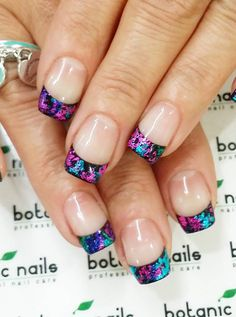 35 French Nail Art Ideas - nenuno creative - - Colorful glitter French tips. Who says that French tips need to be in one color? Play around with bold and dark colors in glitter nail polish to make them stand out. French Nails, Glitter French Tips, Colored French Tips, Glitter French Manicure, French Colors, French Manicures, Glitter Nail Polish, Acrylic Nails, Gel Polish