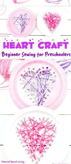 Yarn Paper Plate Heart Craft – Beginner Sewing for Preschool and Kindergarten