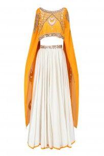 Ivory and Dusk Yellow Embroidered Cape and Lehenga Skirt Set #rianta #newcollection #ethnic #shopnow #ppus #happyshopping