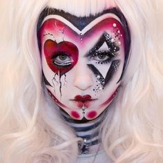 Creepy and cute as F@#$! We are loving @rottenzombiefairy 's spectacular creation using #Sugarpill Love+, Bulletproof, Stella and Asylum. That forehead shading and the little crack lines are nuts. What beautiful execution and extraordinary talent! #makeupart #queenofhearts #clown