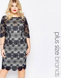 Image 1 ofPaper Dolls Plus Crochet Lace Pencil Dress