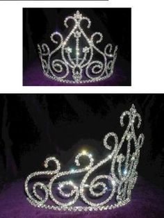 """RHINESTONE BEAUTY PAGEANT QUEEN PRINCES CROWN TIARA This is a classic rhinestone cluster crown with an adjustable base. 5.5"""" high x 7"""" diameter. Adjustable base enables you to add 3 inches diameter. C"""