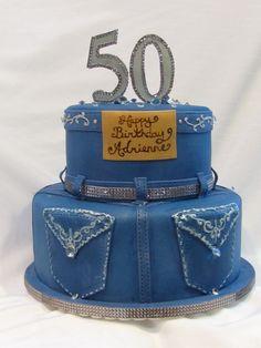 Denim and Diamonds Birthday Cake Pearl Birthday Party, 50th Birthday Cupcakes, 50th Party, 40th Birthday Parties, Pearl Party, Diamond Cake, Diamond Theme, Diamond Party, Diamonds And Denim Party