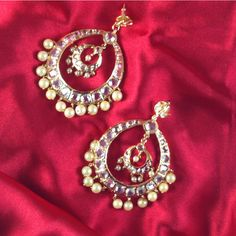 #Nizam #Hyderabadi #ChaandBali -  It is a crescent moon shape dangle earring made with pearls and gemstones. Choice of pearls like cream, off white, etc., semi precious #stones like #emerald, #turquoise, etc. and many styles available. For custom orders please contact 408-800-7134