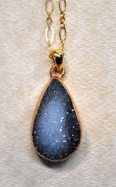 Black Druzy Necklace - Drusy Jewelry - Druzy Jewelry. $49.00, via Etsy.