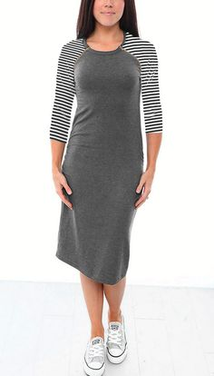 Raglan Sleeve Nursing Dress - Grey/Stripes
