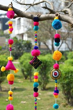 Timestamps DIY night light DIY colorful garland Cool epoxy resin projects Creative and easy crafts Plastic straw reusing ------. Pom Pom Crafts, Yarn Crafts, Diy And Crafts, Arts And Crafts, Diwali Diy, Diwali Craft, Diwali Decorations, Festival Decorations, Handmade Home Decor