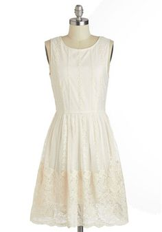 Delightfully Darling Dress - White, Solid, Crochet, Lace, Daytime Party, Graduation, A-line, Sleeveless, Scoop, Spring