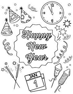 Kids celebrate New Year coloring page | School - Holiday ...