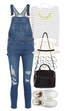 """Outfit with dungarees"" by ferned ❤ liked on Polyvore featuring ASOS, MANGO, Frame Denim, River Island, Alexander Wang and Henri Bendel"