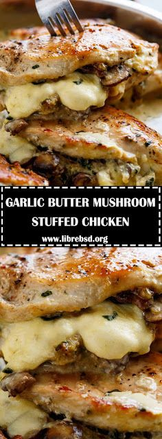 Cheesy Garlic Butter Mushroom Stuffed Chicken WITH an optional Creamy Garlic Parmesan Sauce! ALL Garlic Mushroom lovers. this is THE chick. Creamy Garlic Parmesan Sauce, Chicken Parmesan Recipes, Easy Chicken Recipes, Mozzarella Stuffed Chicken, Stuffed Chicken Breasts, Stuffed Chicken Fillet Recipes, Health Chicken Recipes, Mushroom Stuffed Chicken Breast, French Chicken Recipes