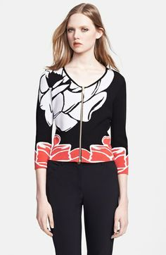 ESCADA 'Segolene' Jacquard Front Zip Cardigan available at #Nordstrom