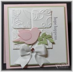 This would make a very pretty wedding card. You could even do the bird & branch in white too.