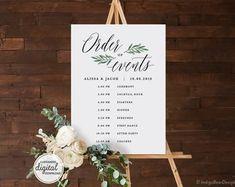 Wedding Timeline Sign / Wedding Itinerary Agenda Icons / | Etsy Wedding Reception Schedule, Wedding Day Timeline, Wedding Menu, Wedding Stuff, Order Of Service Template, Blush Pink Weddings, The Wedding Date, Custom Fonts, Wedding Templates