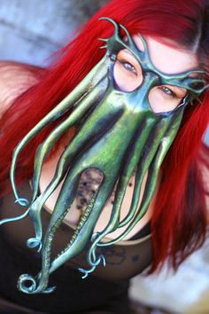 """Cthulhu Leather Mask by CuriousAlchemy"" Kraken, Cthulhu, Diy Masque, Octopus Design, Halloween Masks, Halloween Fun, Leather Mask, Carnival Masks, Masks Art"