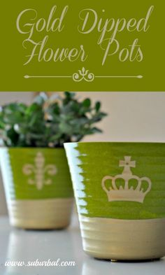 Easy to make gold dipped flower pots using spray paint and tape. A quick crafty way to dress up a boring flower pot