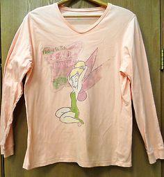 "Disney Store ""Tinks Day Spa"" Light Orange Long Sleeve VNeck 100% Cotton Tee"