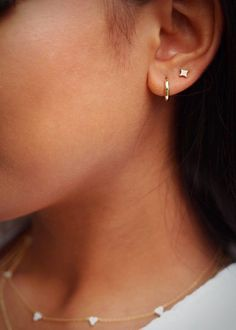 Double Earrings, Starburst Earrings, Simple Earrings, Gold Star Earrings, Stud Earrings, 2nd Ear Piercing, Double Lobe Piercing, Pretty Ear Piercings, Ear Jewelry