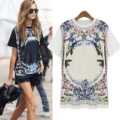 Fashion Women Spring 2014 Summer Print Short Sleeve Loose T Shirt Shirts for Woman Big Size Vestidos Camisa Feminina Tops & Tees $20.58
