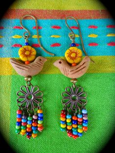 Folklórico Terracotta ~ earrings by qisma @ Etsy