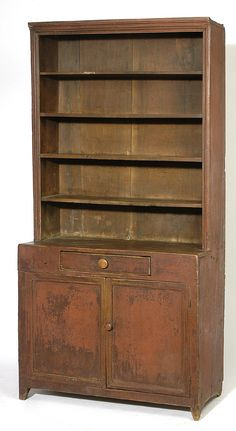 OLD RED PAINT EARLY WALNUT STEP BACK PEWTER CUPBOARD  CIRCA 1830