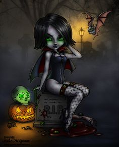 A girl's gotta eat by Evildarling on deviantART Halloween Coloring, Halloween Art, Jade, Love Monster, Dragon, Oogie Boogie, Halloween Pictures, Dark Art, Wicca