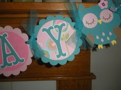 Owl birthday banner & cupcake toppers