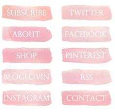 Water Color Brush Stroke Blog Buttons | Social Media & Site Nav